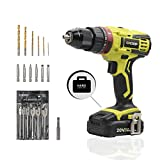 "Cheap CACOOP Cordless Hammer Drill set (CCD20002), 2-Speed, ½""All-Metal Chuck, Included 1)20V MAX 2.0Ah Li-Ion battery, 1) rapid charger, 12) wood drill bits, 6) screwdriver Bits & 1)2"" Magnetic Bit Holder"