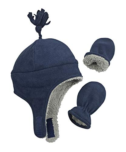 N'Ice Caps Little Boys and Baby Sherpa Lined Micro Fleece Pilot Hat Mitten Set (Navy Infant 1, 6-18 Months)