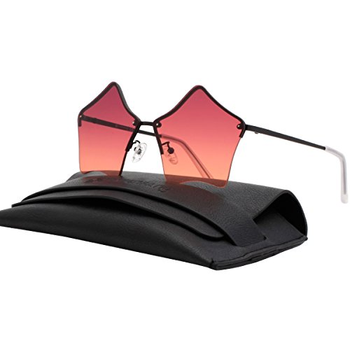 VIVIENFANG Cute Star Shape Rimless Women Sunglasses Metal Frame Ocean Color Lens Oversize Shades G87537A Purple (Metal So Free Rimless Sunglasses)
