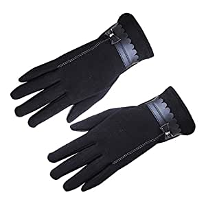 Sanwooden Practical Touch Screen Gloves Elegant Women Bowknot Winter Warm Gloves Touch Screen Full Finger Mittens Gift Winter Essential Gloves