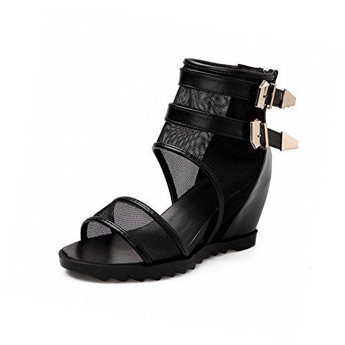 Black Solid Toe Sandals VogueZone009 Zipper PU High Open Heels Women's zwqX1H