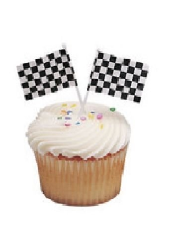 CakeDrake The CARS Nascar RACING Checkered Flag 24 CUPCAKE Topper Decoration Picks Pics (Racing Cake Decorations)