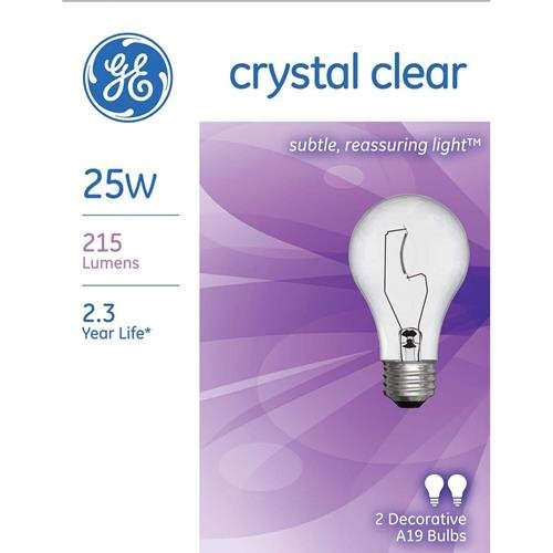 Ge Clear Light Bulbs 25 W 215 Lumens A19 Med Base 4-1/4 In. Clear Box / 2 A19 Med Base