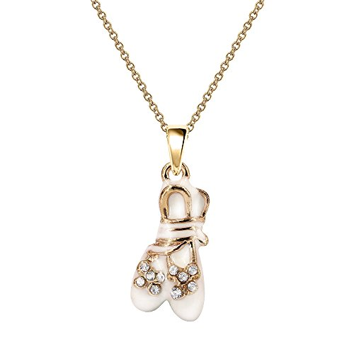 - NC025 Cute New White Crystal Ballet Shoe Charm Pendant Necklace