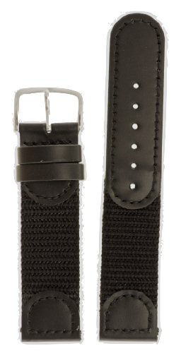 Men's Swiss Army Style Watchband - Color Black Size: 16mm Watch Band - by JP Leatherworks