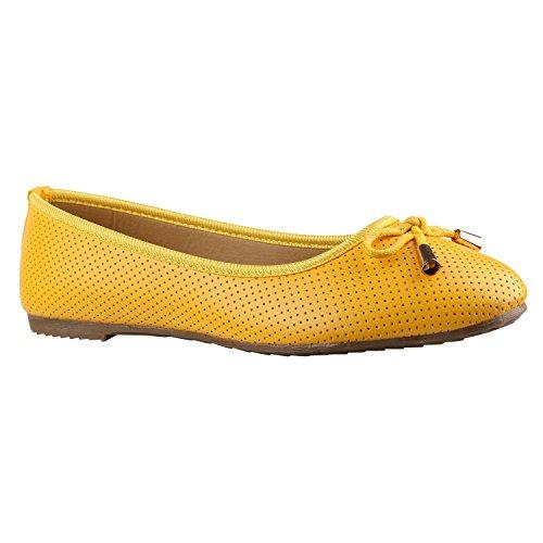 Stiefelparadies Klassische Damen Ballerinas Flats Leder-Optik Lack Metallic Schuhe Glitzer Slipper Slip Ons Übergrößen Abiball Flandell Gelb Gold