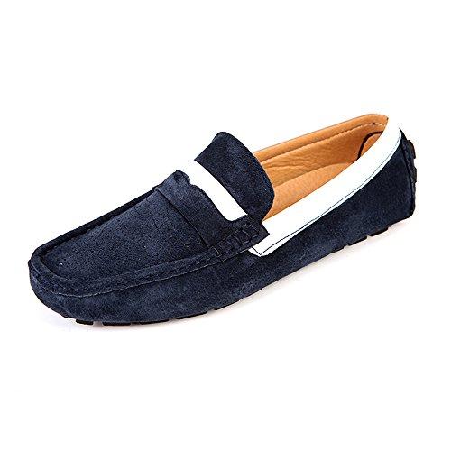 TCJ-2266lanse38 EnllerviiD Men Moc Toe Brogue Slip On Suede Loafers Comfort Driving Moccasins Blue 6.5 D(M) US zS3pm
