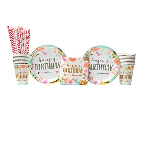 Boho Birthday Girl Party Supplies Pack for 16 Guests: Straws, Dessert Plates, Beverage Napkins, and Cups]()