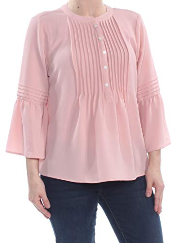 CeCe $79 Womens New 1105 Pink Ruffle Sleeve Pintuck Blouse S B+B
