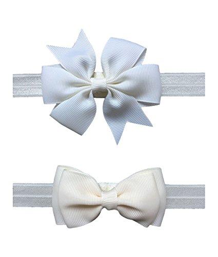 (2pc/Set Baby Girls Grosgrain Ribbon Hairband Set Ribbon Bows Hair Tie Headband JB10 (17-White))