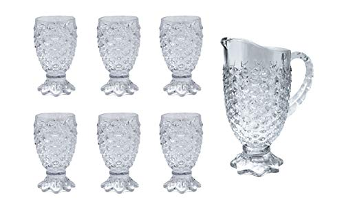 PARS COLLECTIONS Modern Crystal 7-Piece Pitcher and Glass Set for Hot & Cold Beverages ()