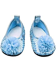 OMMO LEBEINDR Glitter Poppenschoenen Bloemen Jurk Schoen voor 18 Inch Onze Generatie Meisje Pop Babypoppen Accessoires 1 Paar Blauw