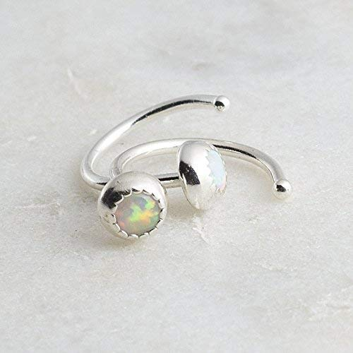 Silver Open Hoop Hugger Hugging Earrings Opal Stone SS-R-D9M-20GA-3MM-Opal by Fashion Art Jewelry