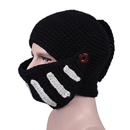 GoodCargoAlliance Knit Hair Beard Hat and Roman Knight Helmet Visor Cosplay Knit Beanie Hat