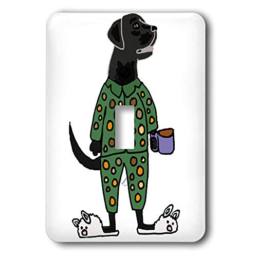 3dRose All Smiles Art - Animals - Cute Funny Black Labrador Retriever Dog in Polka Dot Pajamas - Light Switch Covers - single toggle switch (lsp_291153_1) ()