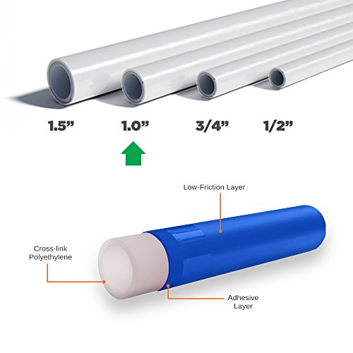 Pexflow PEX Potable Water Tubing - PFW-W1300 1 Inch X 300 Feet Tube Coil for Non-Barrier PEX-B Residential & Commercial Hot & Cold Water Plumbing Application (White) by PEXFLOW (Image #2)