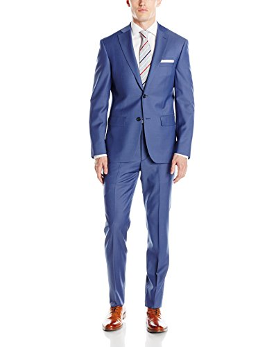 DKNY Men's Two Button Slim Fit Suit, Blue, 40 Long by DKNY