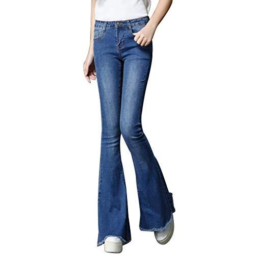 Casuales Coreano Jeans Cintura Trompeta Tendencia De color Flare Tamaño Battercake Big 32 Pantalones Alta Mujer Mujeres Azul Algodón Horn Salvaje n86tqwPatB