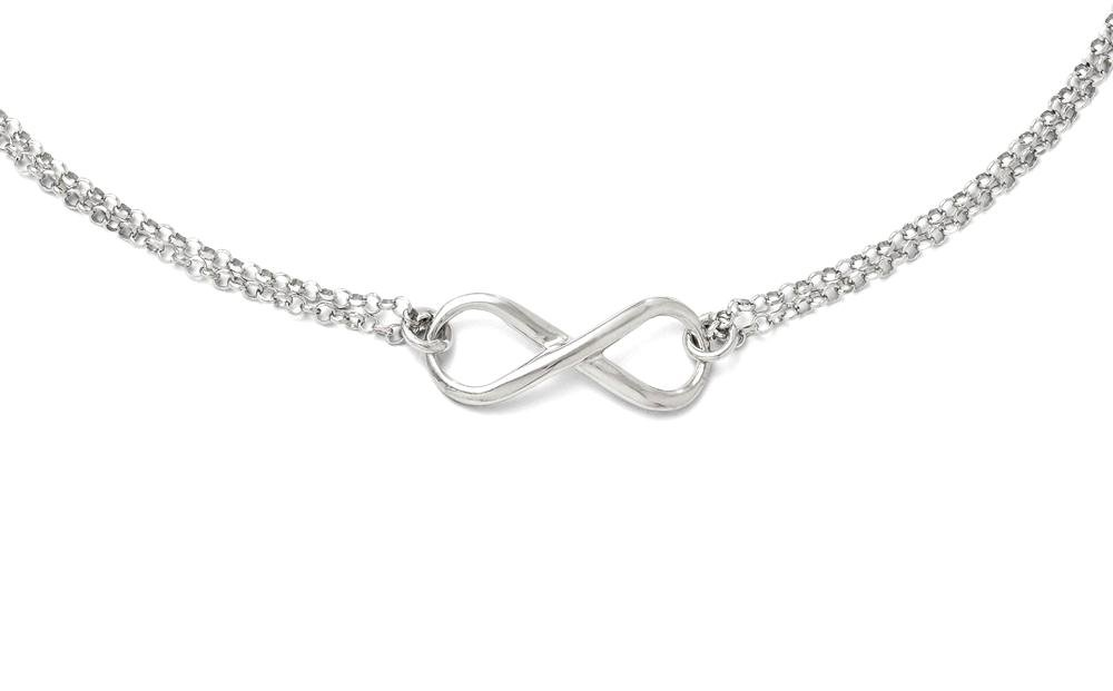 ICE CARATS 925 Sterling Silver Infinity Symbol Chain Necklace Fine Jewelry Gift Set For Women Heart
