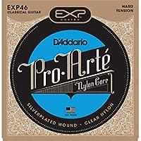 D'Addario EXP46 - Juego de cuerdas para guitarra clásica de nylon con entorchado de plata (tensión alta)