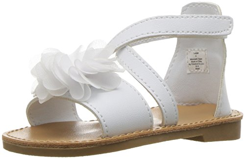 Baby Deer Girls' Criss Cross Flower Sandal, White, 7 M US (White Flower Sandals)