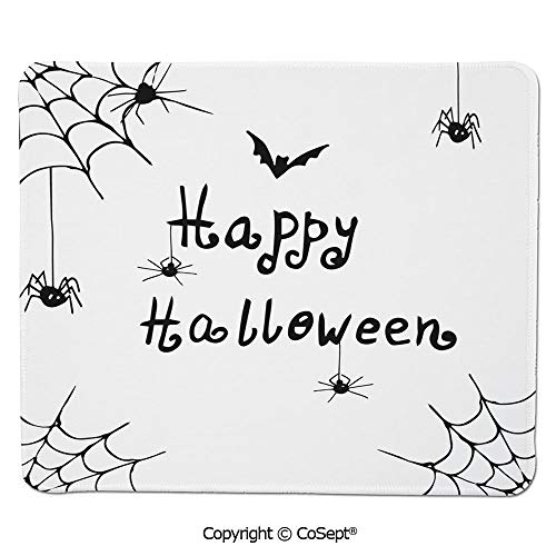 (Ergonomic Mouse pad,Happy Halloween Celebration Monochrome Hand Drawn Style Creepy Doodle Artwork,Water-Resistant,Non-Slip Base,Ideal for Gaming (11.81