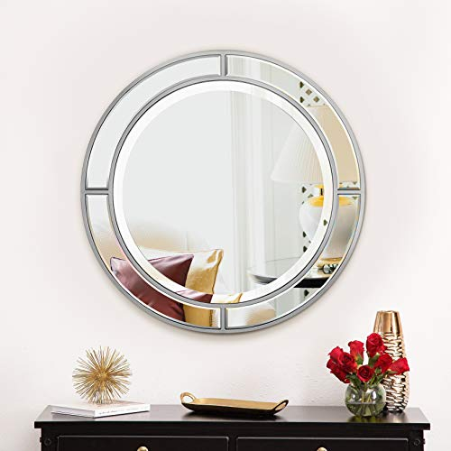 MIRROR TREND Dia 30-Inch Contemporary Handmade Round Wall Mirror for Bathroom Living -