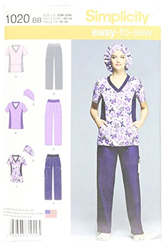Pattern Top Hat Sewing - Simplicity Easy-to-Sew Pattern 1020 Women's Scrub Top, Pants and Hat Sizes 20W-28W