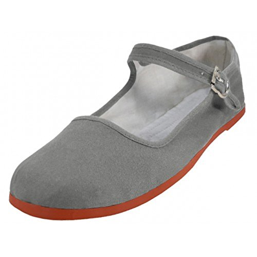 Flats Women's Grey Ballet Jane 114 Shoes Shoes USA Easy Mary Ballerina Cotton Bx4Ogq8