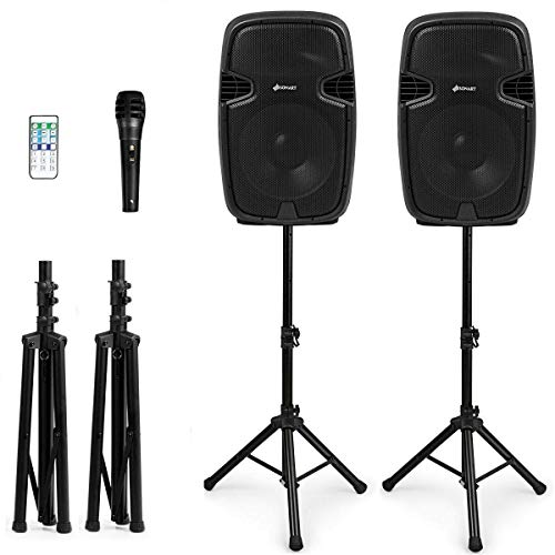 Sonart 2-Way Dual Powered PA Speaker System Set, Portable 3000W High Powered Loud DJ Active + Passive Speaker with Bluetooth, USB, SD Card Reader, Stands, Microphone, Wireless Remote Control