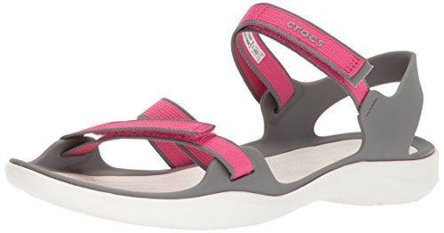 crocs Swiftwater Webbing Sandal W Sandalias Flip-Flop para Mujer, Paradise Pink/Smoke, 23