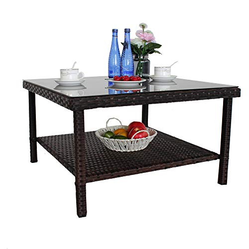 Patio Side Table Outdoor Metal Table Small PE Brown Rattan Side Table Patio Furniture Garden Deck Pool Glass Top Double-Shelf Storage Space Tea Table-Brown (Glass Rattan Table Garden Top)