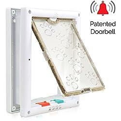 Cat Doors, PetsN'all Smart 4-Way Locking Indoor Pet Door Window for Cats and Small Dogs with Telescoping Frame Door Bell (7.4X9.2X2.3 inch)