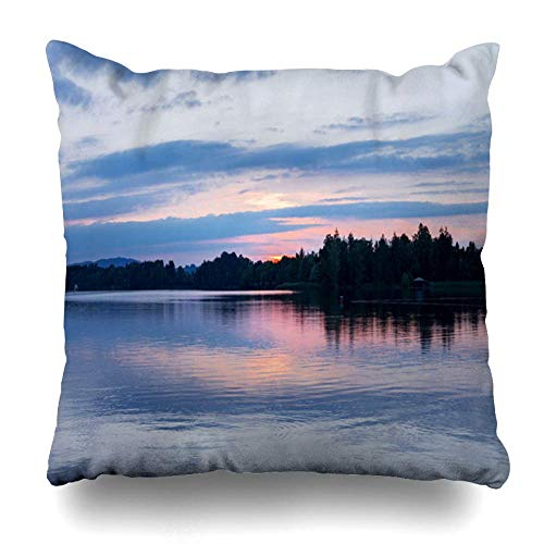 Mesllings Throw Pillow Covers Blue Amazing Little Village Lakes South Nature Parks Green Clouds Evening Forest Design Lake Home Decor Zippered Pillowcase Square Size 20 x 20 Inches Cushion Case -