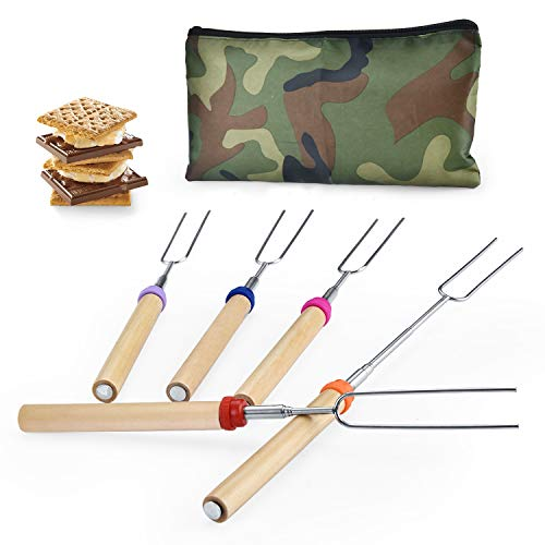 Wup Extendable Rotating Marshmallow Roasting Sticks Set of 5 Smores Sticks for Fire Pit Campfire Roasting Sticks 30 - Roasting Sticks Marshmallow