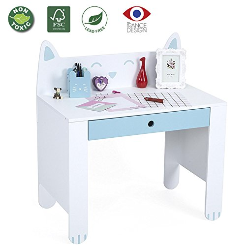 LUCKUP Kids Furniture Children's Writing Wood Table, Cute Cartoon Cat Shape Desk,Non-Toxic Paint(White + Blue) -