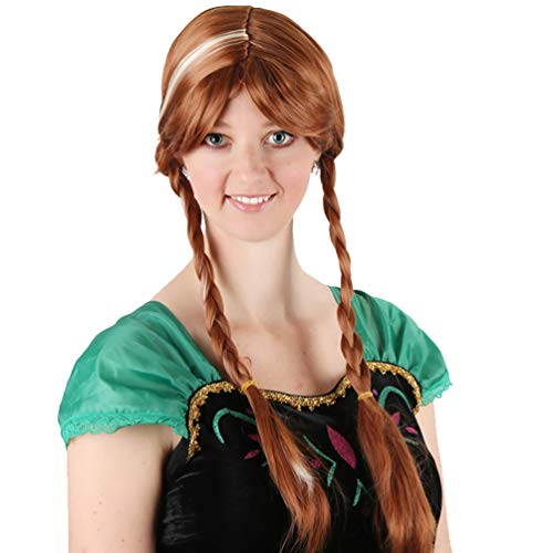 Ice Romance Anna Wig Anime COS Wig Stage Show Performance Cosplay Hair Wig with 2 Braids No Lace Heat Resistant Synthetic Wig Party Halloween Carnival New Fashion Natural as Real -