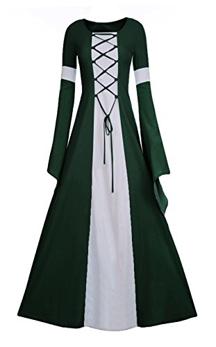 Meilidress Women Medieval Dress Lace up Vintage Floor Length Cosplay Retro Long Dress for $<!--$35.98-->