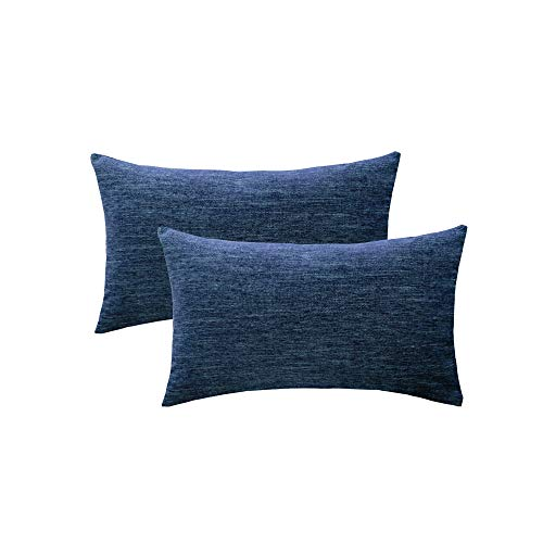 (HWY 50 Cotton Linen Soft Comfortable Natural Soild Decorative Rectangle Throw Pillows Covers Sets Cushion Case for Couch Sofa Bed Living Room Blue Pillowcases 12 x 20 Inches Pack of 2)