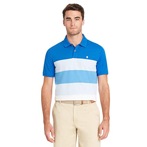 IZOD Men's Advantage Performance Short Sleeve Colorblock Polo, Clear Air, Medium