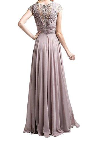 Festlichkleider Abendkleider Blau Lang Spitze Himmel mia Abschlussballkleider Brautjungfernkleider Anmutig Kurzarm La Braut w6gaXW18nR