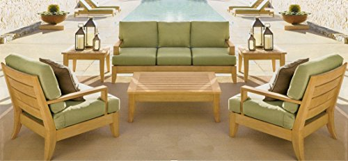 New Luxurious 6 Piece Teak Sofa Set - 3 Seater Sofa, 2 Lounge Chairs, 1 Ottoman, 1 Coffee Table And 1 End Table - Furniture only - Atnas COLLECTION - Teak Seater 2