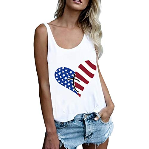 YOcheerful Women's American Print Vest Loose Top Sleeveless Tank Sport Vest Independence Day Blouse(White, S) -