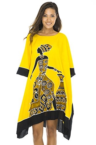 African Caftan - Back From Bali Womens Beach Swim Suit Cover Up Caftan Poncho Short Africa Women Pot Yellow