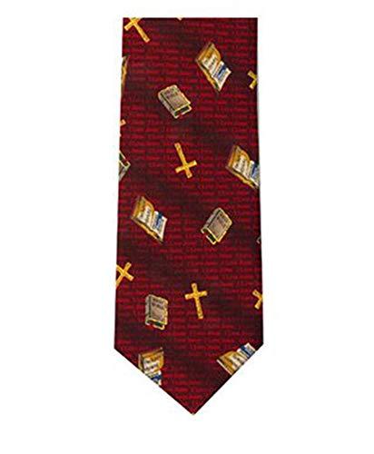 Men's Deep Red religious Cross & Bible Necktie Neck Tie Neckwear