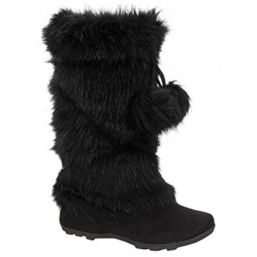 De Blossom Collection CE37 Women's Lace Up Mid-Calf Pom-Poms Flat Boots, Color:Black, Size:6.5