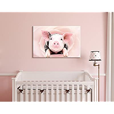 Canvas Print Wall Art - Little Pink Pig on Floral Background - Gallery Wrap Modern Home Art   Ready to Hang - 12x18 inches