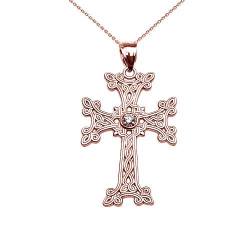 Collier Femme Pendentif 10 Ct Or Rose Arménien Croix Solitaire Oxyde De Zirconium (Livré avec une 45cm Chaîne)