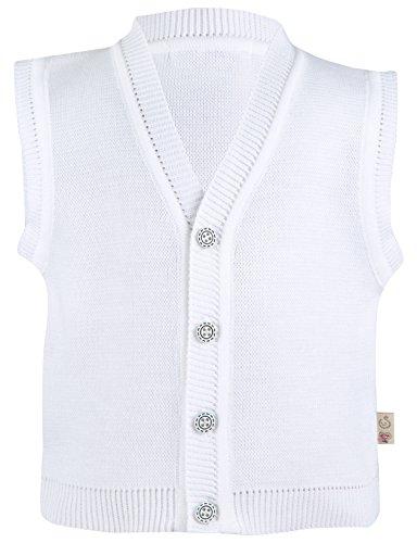 Lilax Baby Boy White Knit Vest Sweater 3-6 Months White