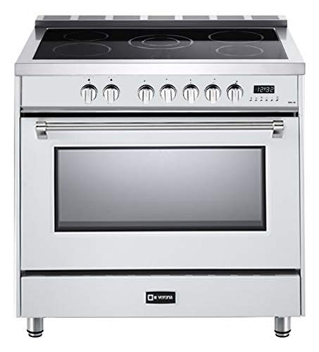 (Verona Designer Series VDFSEE365W 36 Inch 5.0 Cu. Ft Electric Range Oven 5 Burners Dual Center Element Smoothtop Black Ceramic Cooktop Convection White)